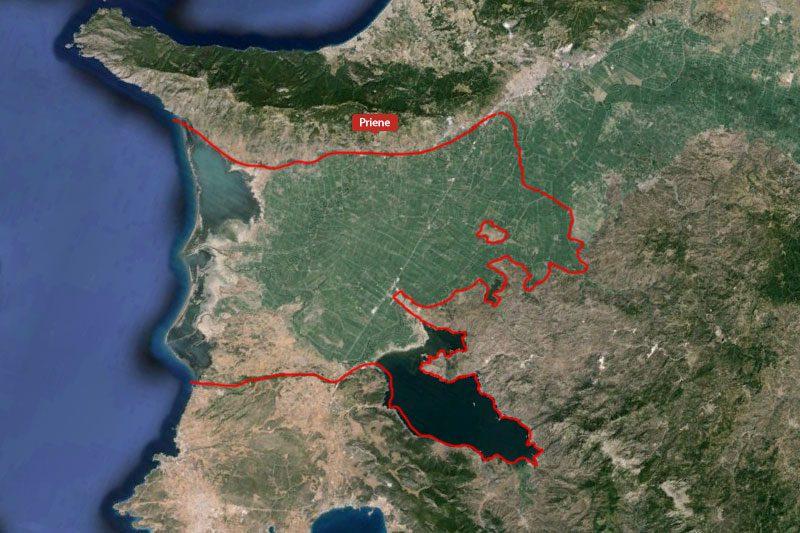 priene antik kenti haritada yeri