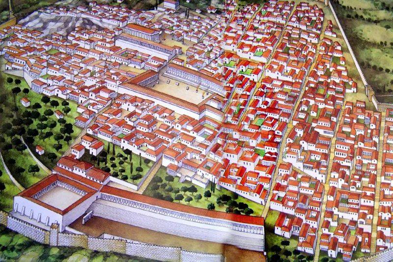 priene antik kenti rekontruksiyon haritasi
