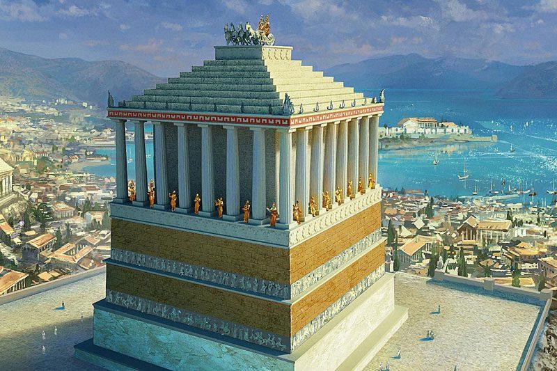 bodrum halikarnas mozolesi antik donem cizimi
