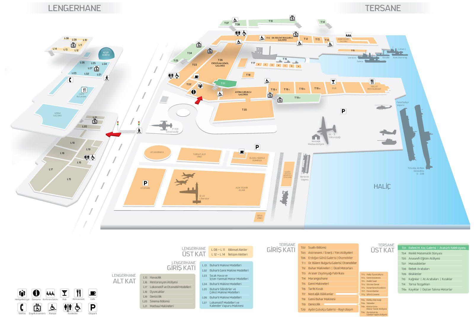 istanbul rahmi koc muzesi plani haritasi