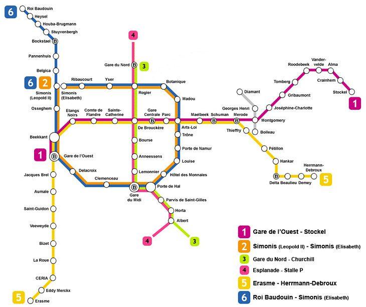 bruksel metro ulasim haritasi