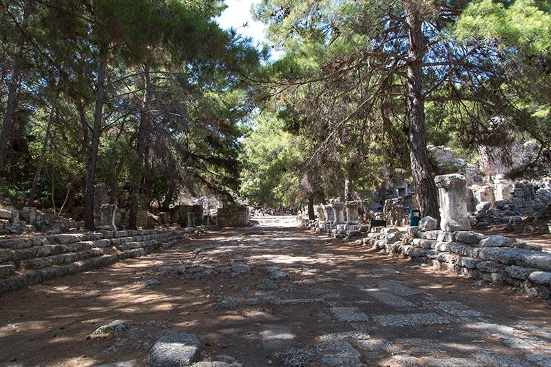 antalya phaselis antik kenti sutunlu cadde