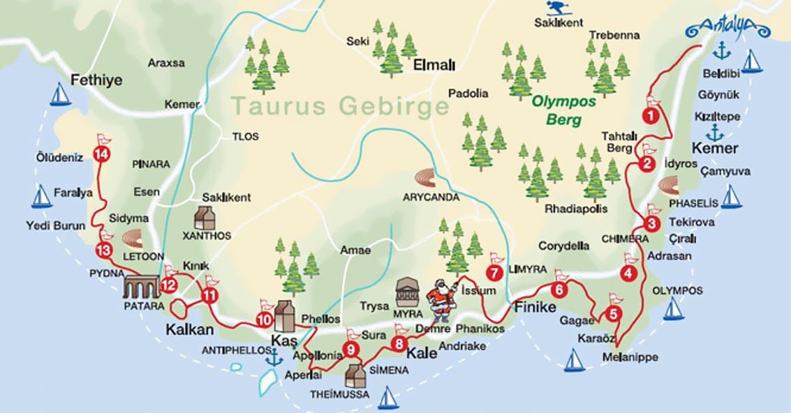 likya yolu haritasi guzergahi