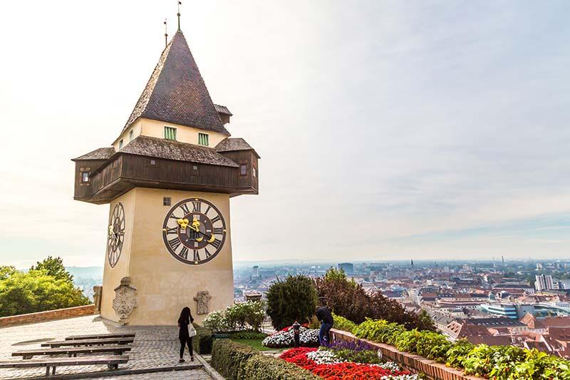 graz schlossberg saat kulesi manzarasi