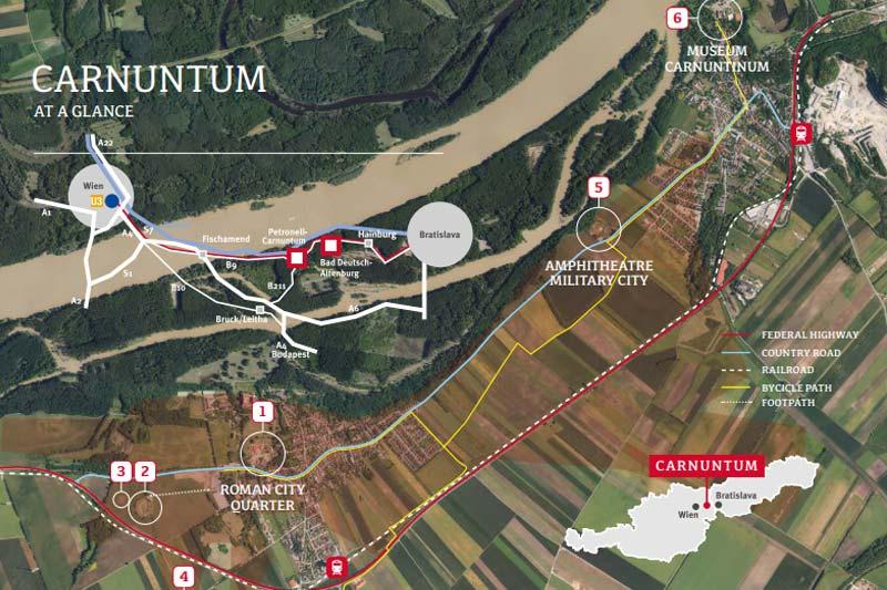 viyana roma carnuntum harita plani