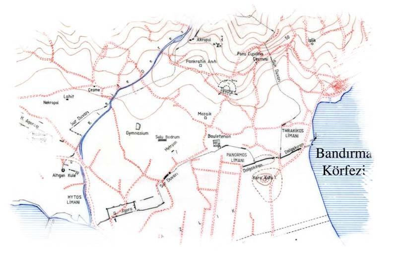 erdek kyzikos antik kenti haritasi